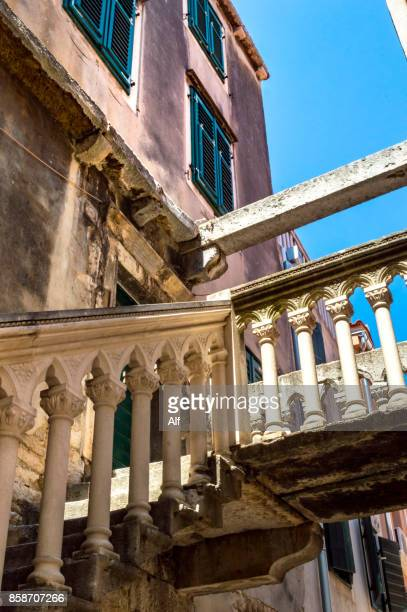Medieval staircase in a house in the old town of Sibenik, Croatia