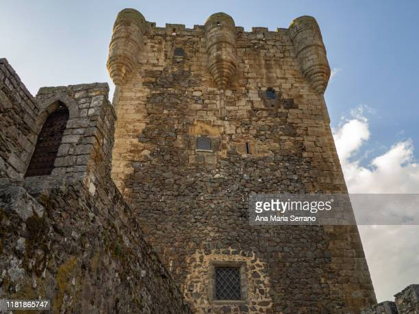medieval stone castle of the village of monleón, spain - ghost player foto e immagini stock