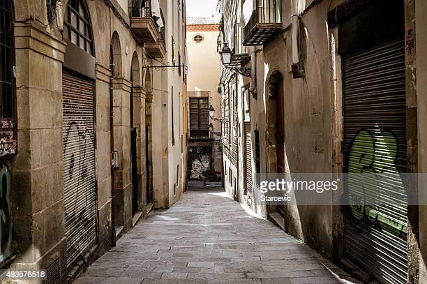 Medieval street in Barcelona, Spain