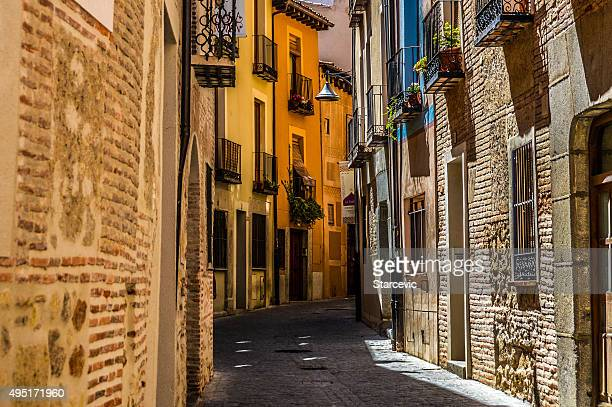 medieval street in segovia, spain - segovia stock pictures, royalty-free photos & images
