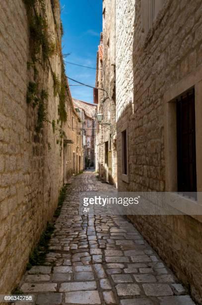Medieval street in Trogir old town, Croatia