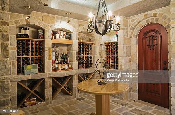 medieval style cut-stone wine cellar, cottage style home, quebec, canada - ワインセラー ストックフォトと画像