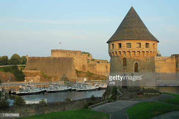 medieval style watch tower overlooking bay - big brest stock photos and pictures