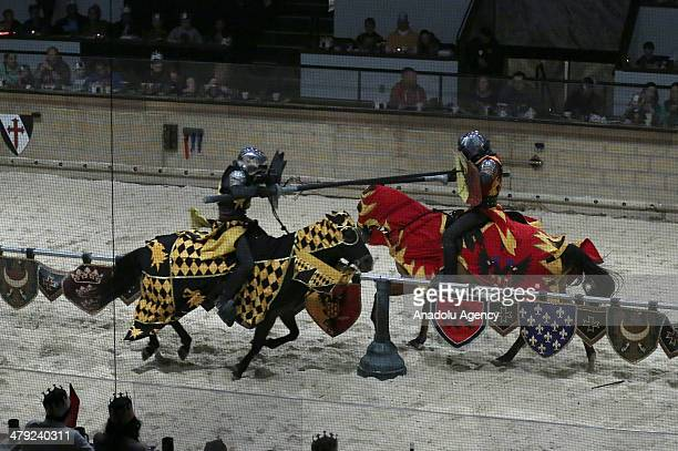 Medieval Times Dinner and Tournament a family dinner theater featuring staged medievalstyle games swordfighting and jousting performed by a cast of...