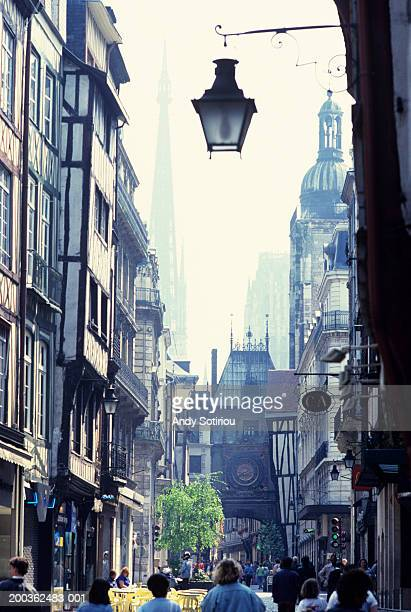 medieval town centre and cathedral spire, rouen, france - rouen stock pictures, royalty-free photos & images