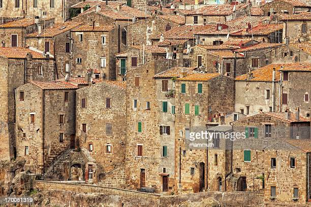 medieval town of pitigliano - grosseto province stock photos and pictures