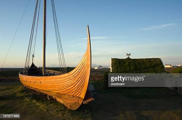 Medieval Barco viking reconstrução da Islândia