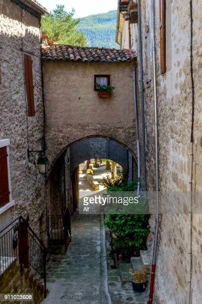 medieval village of annot,department of alpes-de-haute-provence, french riviera, france - alpes de haute provence stock photos and pictures