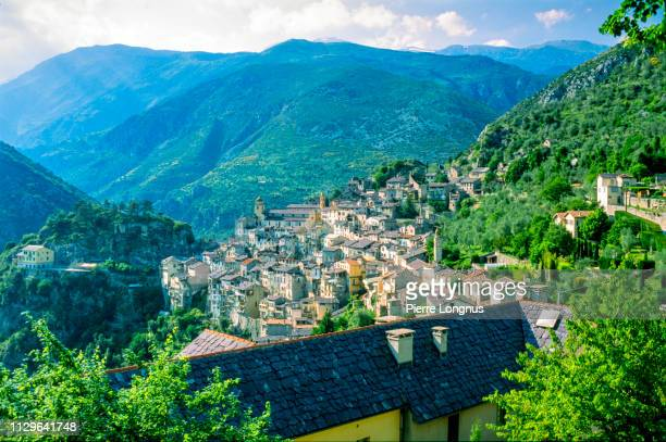 medieval village saorge, french riviera hinterland, france - alpes maritimes stock pictures, royalty-free photos & images