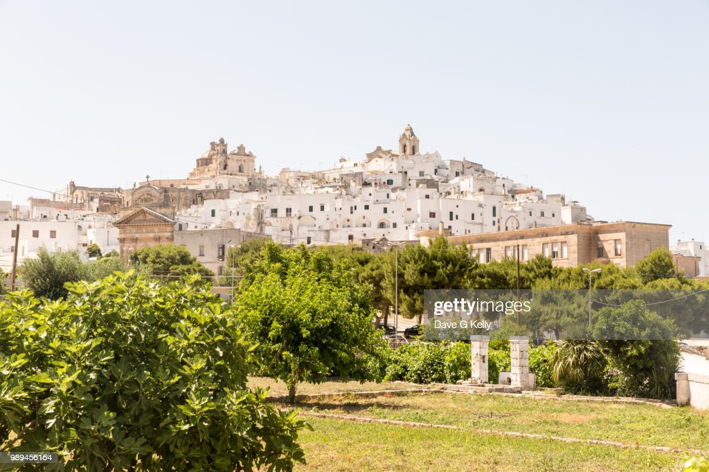 Medieval Whitewashed Hilltop Puglian Town : Stock Photo