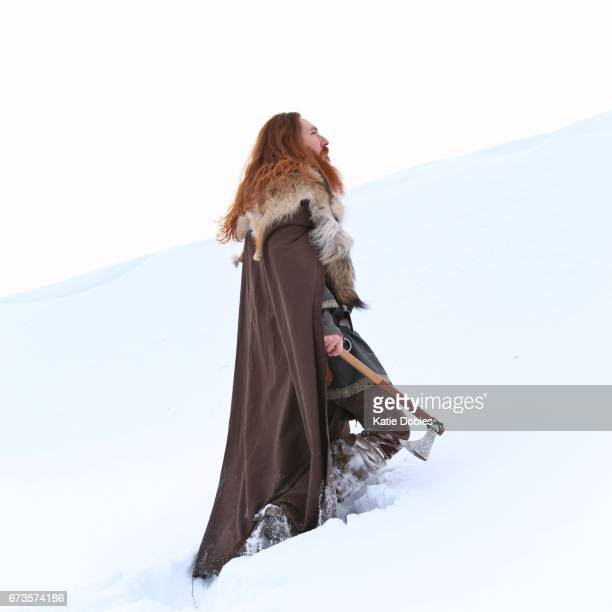 Medieval Winter Snow Viking Warrior, Animal Pelt, Cape