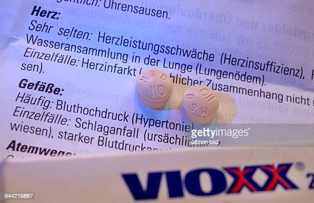 Tabletten des Rheumamedikaments VIOXX der amerikanischen Firma Merck in Deutschland hergestellt von MSD Beipackzettel