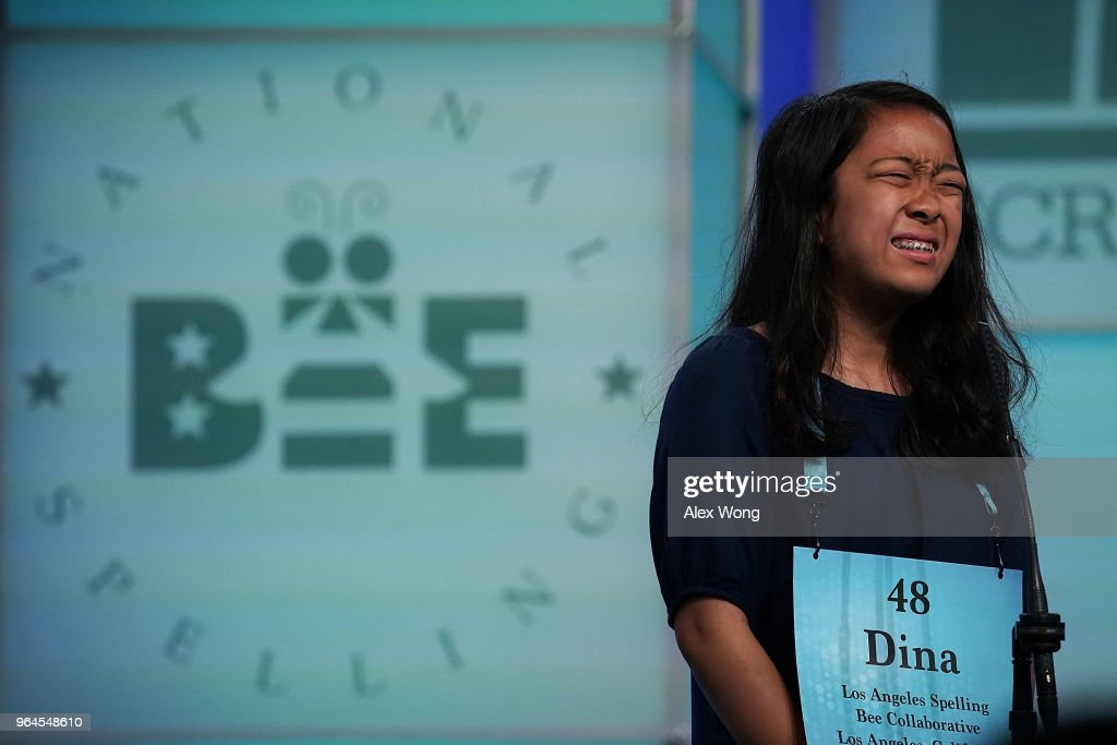 Medina Miranda of Los Angeles, California, reacts after she misspelled her word during round seven of the 91st Scripps National Spelling Bee at the Gaylord National Resort and Convention Center May 31, 2018 in National Harbor, Maryland. 16 spellers have advanced to this evening's final rounds of the annual spelling competition.