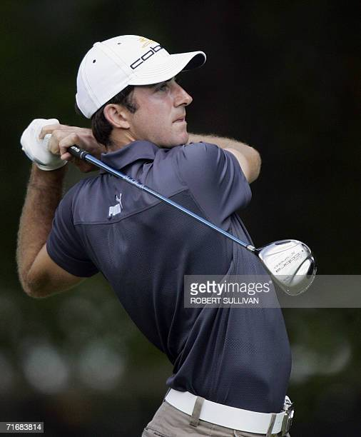 Medinah, UNITED STATES: Geoff Ogilvy of Australia tees off on the 5th hole 20 August 2006 during the final round of the 88th PGA Championship at...
