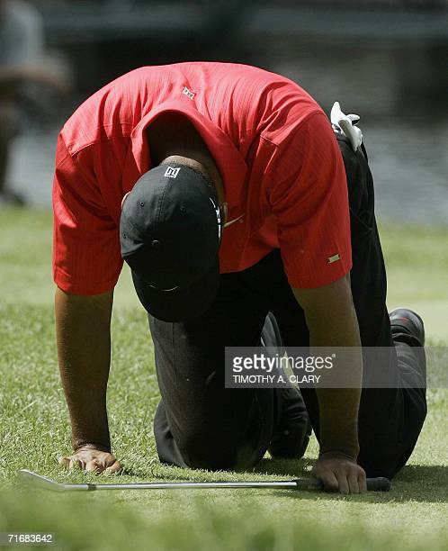 Tiger Woods of the United States falls to his knees after missing a birdie putt on the second hole 20 August 2006 during the final round of the 88th...