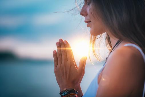 Meditating. Close Up Female Hands Prayer 1141689090
