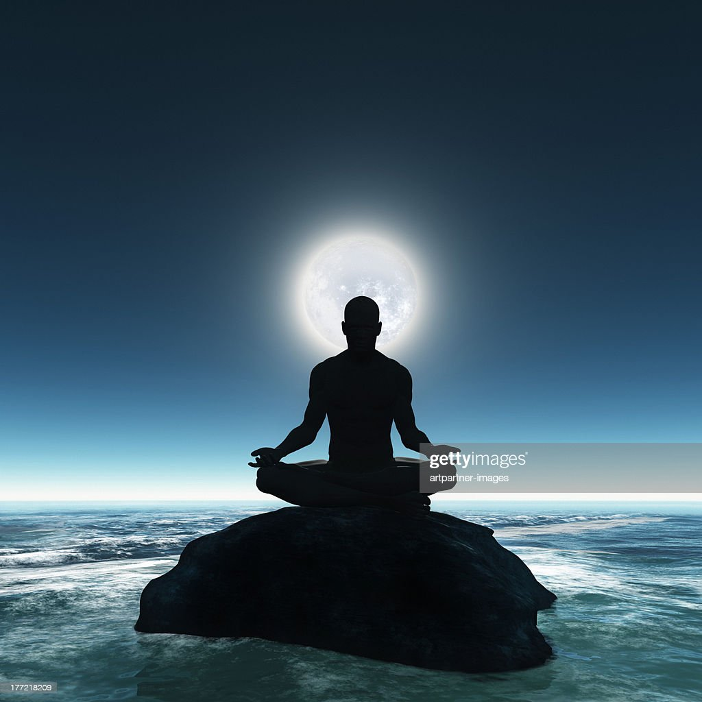 Meditation At The Sea Shore With Full Moon High-Res Stock ...