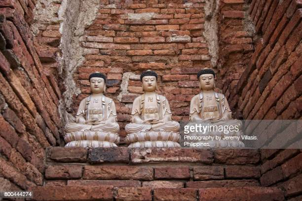 meditation buddhas in wat mahathat, ayutthaya historical park, thailand - jeremy chan stock pictures, royalty-free photos & images