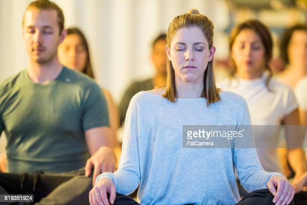 meditation class - group of objects stock pictures, royalty-free photos & images