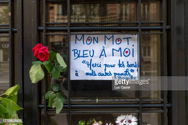 Meditation in front of the Singer Christophe's residence in Paris Montparnasseon April 18 2020 in Paris France The Coronavirus pandemic has spread to...