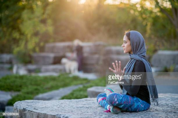 meditation outdoors - shawl stock photos and pictures