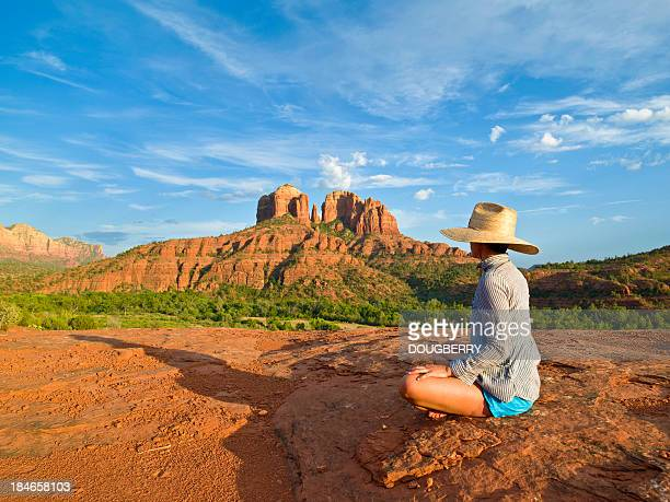 meditation - sedona stock photos and pictures