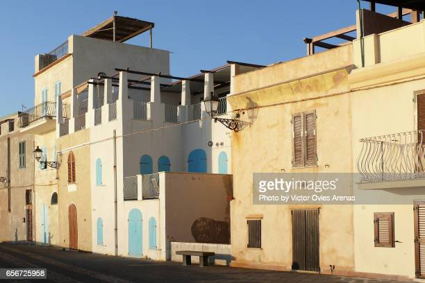 Mediterranean architecture in the old town of Alghero in Sardinia, Italy