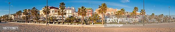 Mediterranean beach promenade restaurants bars panorama