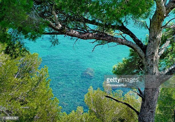 mediterranean blue - liguria foto e immagini stock