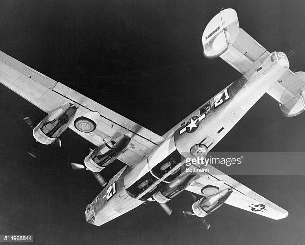 Bombs that hit the Vienna Rail yards on January 15th are ready to leave the bomb bay of the B24 Liberator as it starts its bomb run Heavies of the...