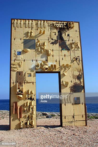 Mediterranean Island of Lampedusa between Sicily and Malta Lampedusa Gate to Europe monument in memory of migrants drowned in the attempt to reach...