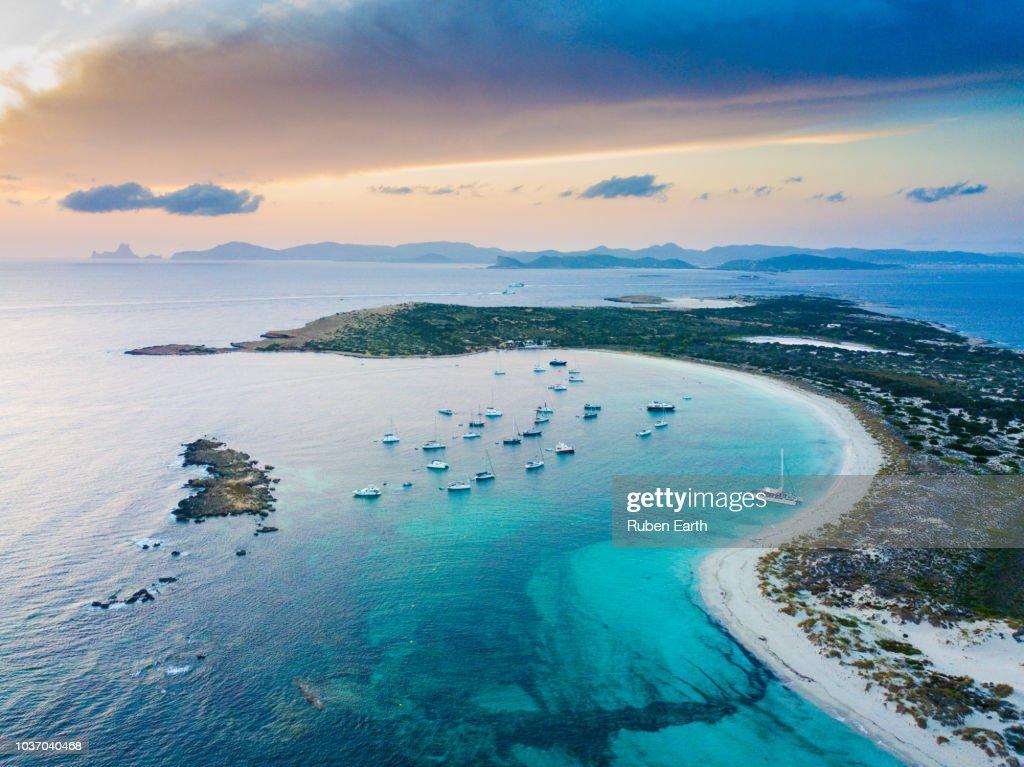 Mediterranean landscape near Ibiza and Formentera Islands : Stock-Foto