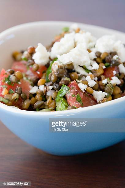 Mediterranean Lentil Salad in bowl, close up