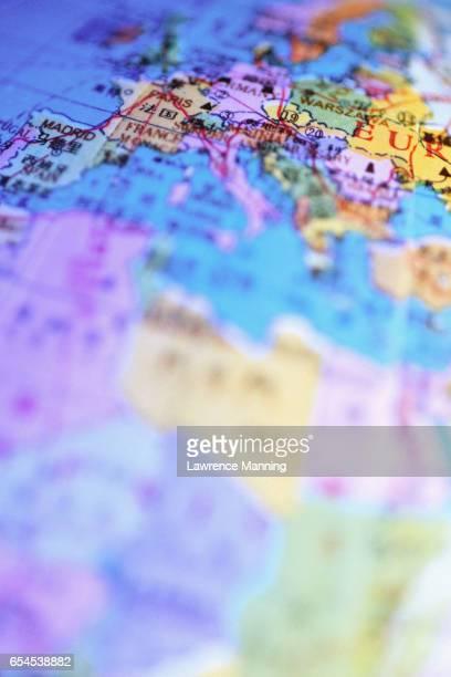 mediterranean region on chinese globe - europa continente fotografías e imágenes de stock