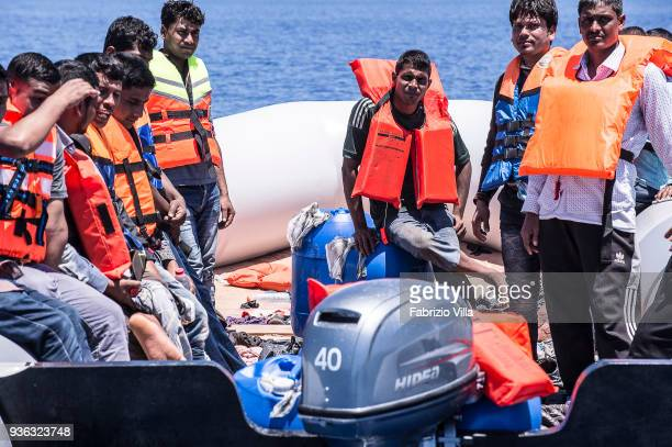 Mediterranean Sea Rescue operation of the Italian Navy in the Mediterranean Sea at 20 miles of the coasts of Libya The crew of the ship Carlo...