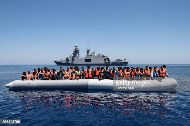 Mediterranean Sea. Rescue operation of the Italian Navy in the Mediterranean Sea at 20 miles of the coasts of Libya. The crew of the ship Carlo...
