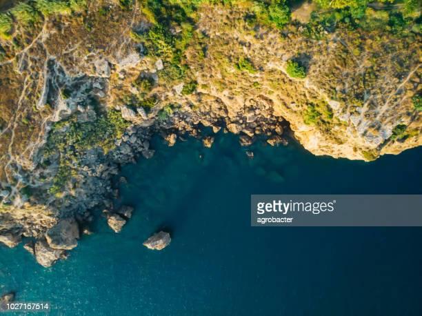 mediterranean seashore. aerial view - thasos stock photos and pictures