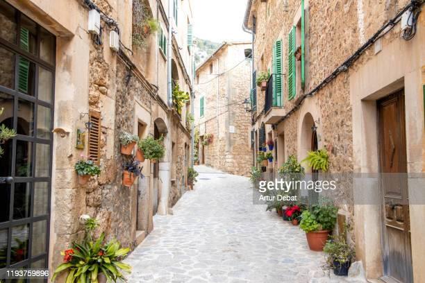 mediterranean street with flowers and plants in the mallorca island. - culture méditerranéenne photos et images de collection