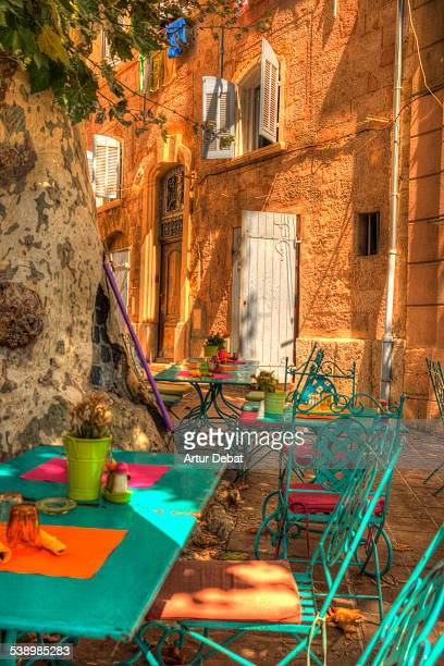 mediterranean terrace in the marseille city street - bouches du rhone stock pictures, royalty-free photos & images