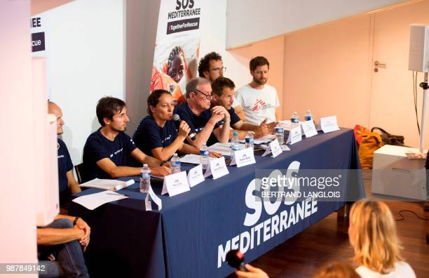 SOS Mediterranee general director Sophie Beau gives a press conference one day after the arrival of the Aquarius rescue ship chartered by French NGOs...