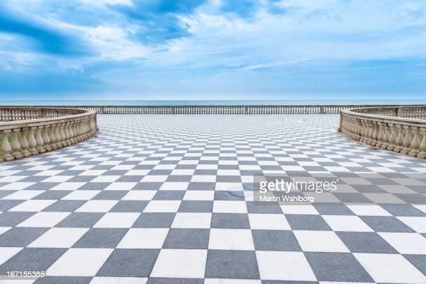 mediterranian sea promenade - checked pattern stock pictures, royalty-free photos & images
