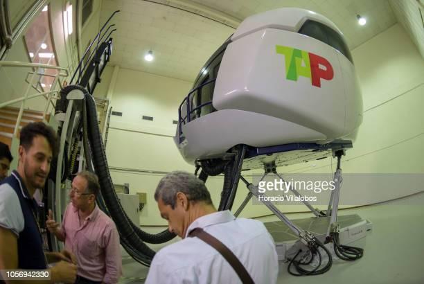 A320 medium range flight simulator at TAP Air Portugal training center in Lisbon International Airport on October 19 2018 in Lisbon Portugal TAP Air...