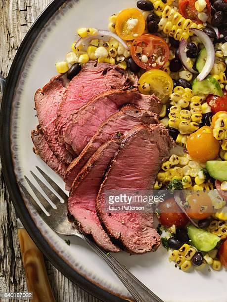 Medium Rare Sirloin Steak with Grilled corn salad