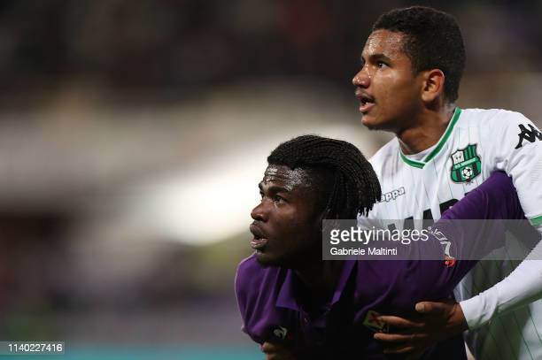 Medja Beloko of ACF Fiorentina and Rogerio of US Sassuolo look on during the Serie A match between ACF Fiorentina and US Sassuolo at Stadio Artemio...