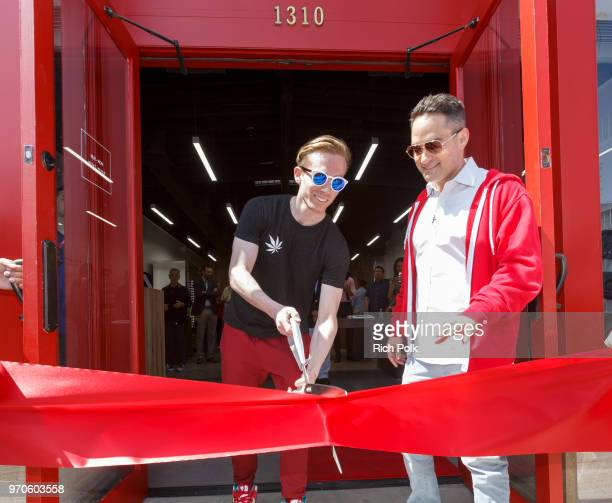 MedMen CEO and CoFounder Adam Bierman and MedMen President and CoFounder Andrew Modlin cut the ribbon at the MedMen Abbot Kinney store ribbon cutting...