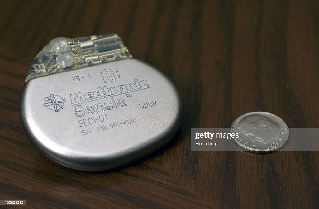 A Medtronic Inc  Sensia pacemaker is arranged for a photo at company