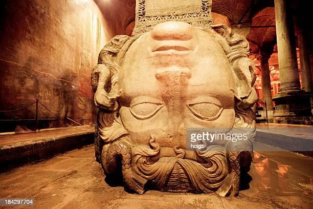 medusa head in the basilica cistern, istanbul, turkey - medusa stock photos and pictures