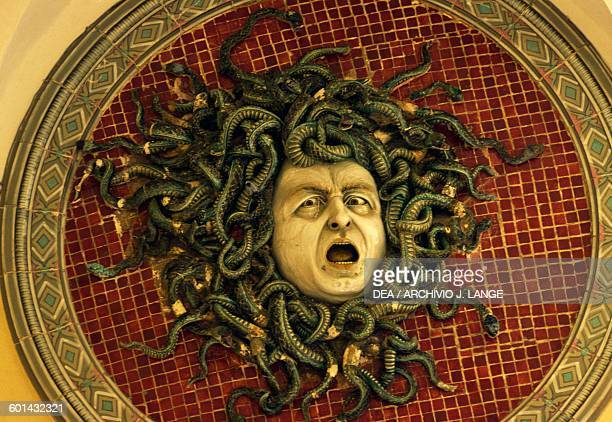 Medusa polychrome majolica tondo by Ferruccio Mengaroni Mosca palace Pesaro Marche Italy Pesaro Musei Civici