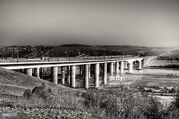 medway bridge on a bright - river medway stock photos and pictures
