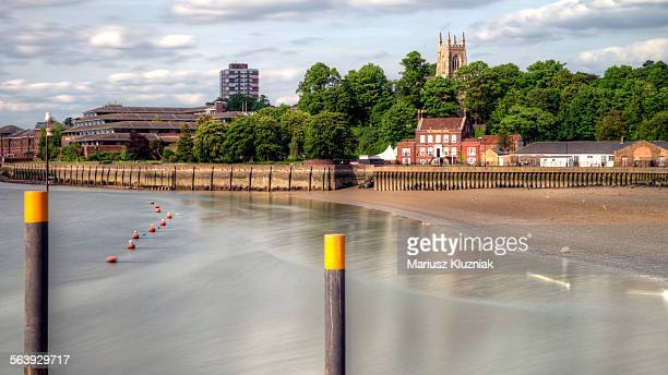 medway river bank and chatham church tower - チャタム ストックフォトと画像